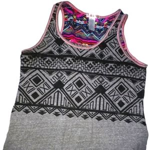 Curious Gypsy gray tank top sheer fabric on back L